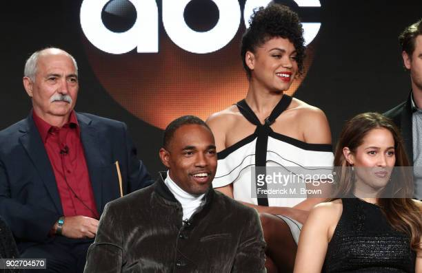 Actors Miguel Sandoval and Barrett Doss, actors Jason George and Jaine Lee Ortiz speak onstage during the ABC Television/Disney portion of the 2018...