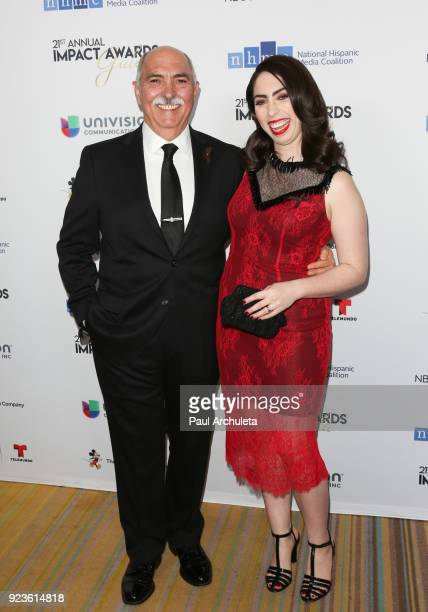 Actors Miguel Sandoval and Olivia Sandoval attend the National Hispanic Media Coalition's 21st annual Impact Awards at the Beverly Wilshire Four...