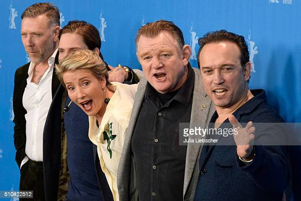 Actors Mikael Persbrandt Daniel Bruehl Emma Thompson Brendan Gleeson and director Vincent Perez attend the 'Alone in Berlin' photo call during the...