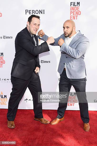 """Actors Mike Carlsen Victor Almanzar attend the premiere of """"11:55"""" during the 2016 Los Angeles Film Festival at Arclight Cinemas Culver City on June..."""