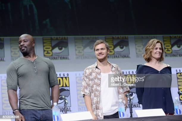 Actors Mike Colter Finn Jones and Sigourney Weaver speak onstage at Netflix's 'The Defenders' panel during ComicCon International 2017 at San Diego...