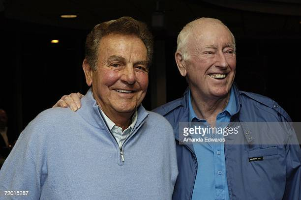 Actors Mike Connors and Dick Martin attend the signing of Bob Newhart's book I Shouldn't Even Be Doing This at Borders on September 26 2006 in...