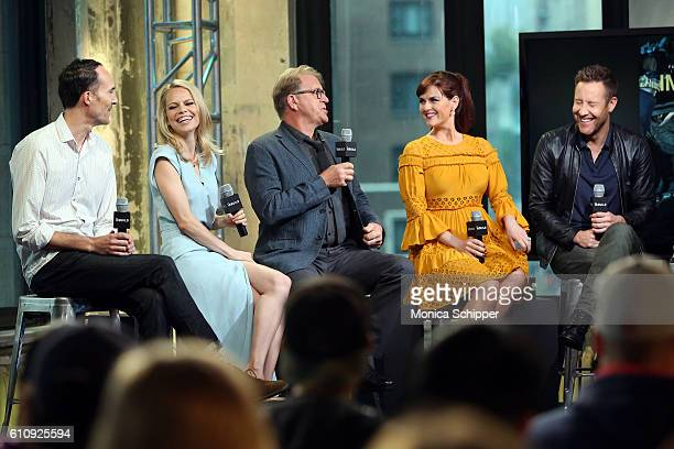 Actors Mike Kosinski Mircea Monroe David Rasche Sara Rue and Michael Rosenbaum speak at BUILD Speaker Series Presents Michael Rosenbaum Sara Rue...