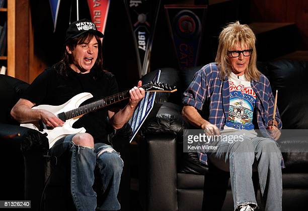 Actors Mike Myers and Dana Carvey as Wayne and Garth from Wayne's World onstage during the 17th annual MTV Movie Awards held at the Gibson...