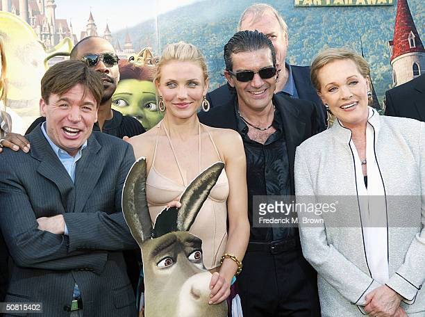 Actors Mike Myers, Eddie Murphy, Cameron Diaz, Antonio Banderas and Julie Andrews attend the Los Angeles premiere of the Dreamworks Pictures' film...