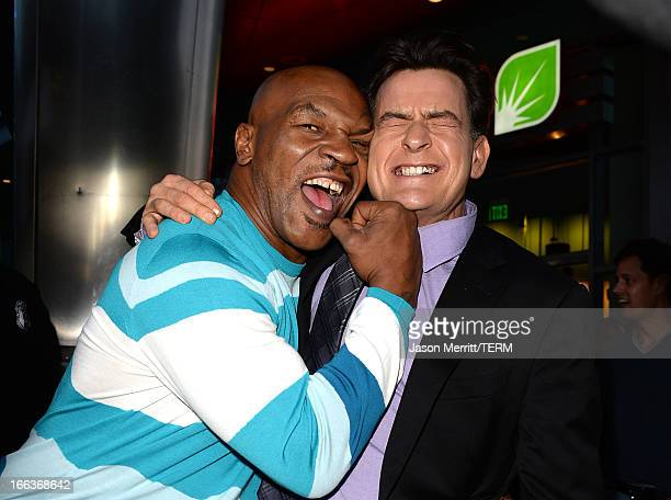 Actors Mike Tyson and Charlie Sheen arrive at the Dimension Films' 'Scary Movie 5' premiere at the ArcLight Cinemas Cinerama Dome on April 11 2013 in...