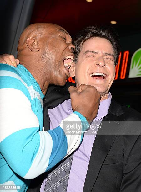 Actors Mike Tyson and Charlie Sheen arrive at the Dimension Films' Scary Movie 5 premiere at the ArcLight Cinemas Cinerama Dome on April 11 2013 in...