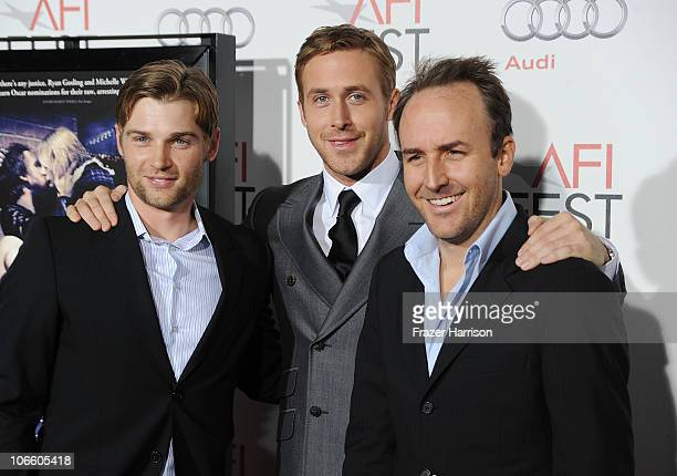 Actors Mike Vogel and Ryan Gosling along with Director Derek Cianfrance arrives at the Blue Valentine screening during AFI FEST 2010 presented by...