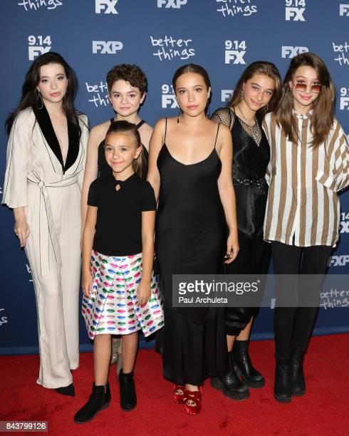Actors Mikey Madison Hannah Alligood Olivia Edward Gideon Adlon Odessa Adlon and Rocky Adlon attend the premiere of FX's Better Things Season 2 at...