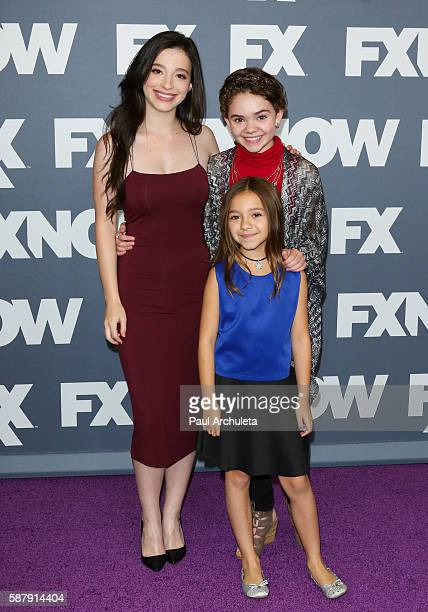 Actors Mikey Madison Olivia Edward and Hannah Alligood attend FX Networks TCA 2016 Summer Press Tour on August 9 2016 in Beverly Hills California