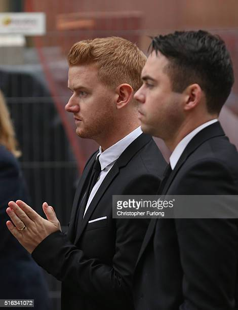 Actors Mikey North and Bruno Langley attend the funeral of Coronation Street scriptwriter Tony Warren at Manchester Cathedral on March 18 2016 in...