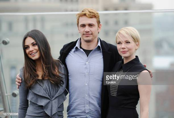 Actors Mila Kunis James Franco and Michelle Williams during a photocall before Walt Disney Pictures Moscow premiere of 'Oz The Great And Powerful' at...