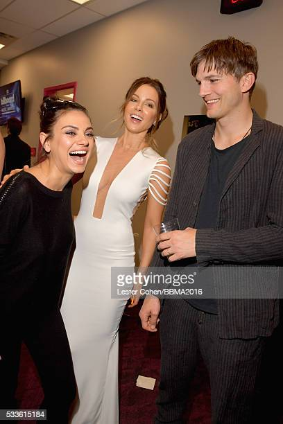 Actors Mila Kunis Kate Beckinsale and Ashton Kutcher attend the 2016 Billboard Music Awards at TMobile Arena on May 22 2016 in Las Vegas Nevada