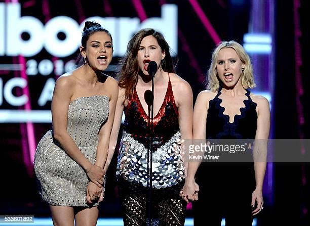 Actors Mila Kunis Kathryn Hahn and Kristen Bell speak onstage during the 2016 Billboard Music Awards at TMobile Arena on May 22 2016 in Las Vegas...
