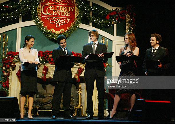 Actors Mila Kunis Wilmer Valderrama Ashton Kutcher Laura Prepon and Danny Masterson perform on stage at the Church of Scientology's 11th Annual...