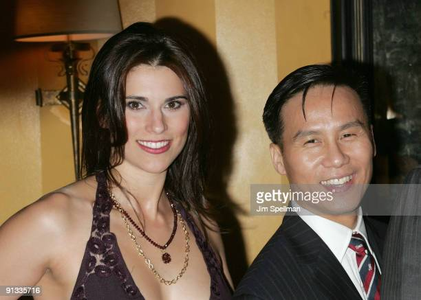 Actors Milena Govich and BD Wong attend the after party for the opening night of Superior Donuts on Broadway at the Redeye Grill on October 1 2009 in...