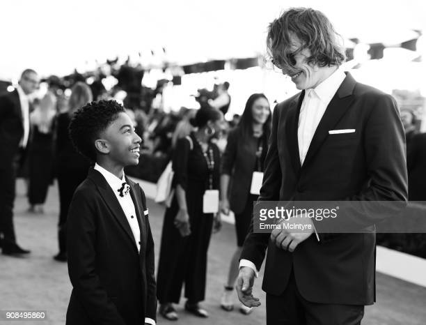Actors Miles Brown and Caleb Landry Jones attend the 24th Annual Screen Actors Guild Awards at The Shrine Auditorium on January 21 2018 in Los...