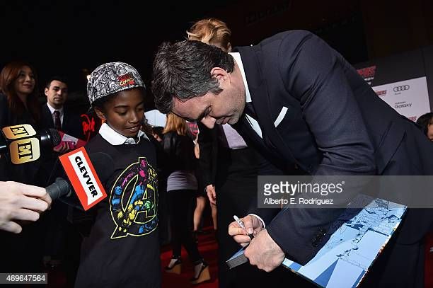 Actors Miles Brown and Mark Ruffalo attend the world premiere of Marvel's 'Avengers Age Of Ultron' at the Dolby Theatre on April 13 2015 in Hollywood...