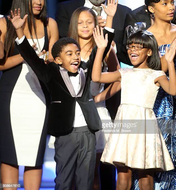 Actors Miles Brown and Marsai Martin accept award for Outstanding Comedy Series for 'Blackish' onstage during the 47th NAACP Image Awards presented...