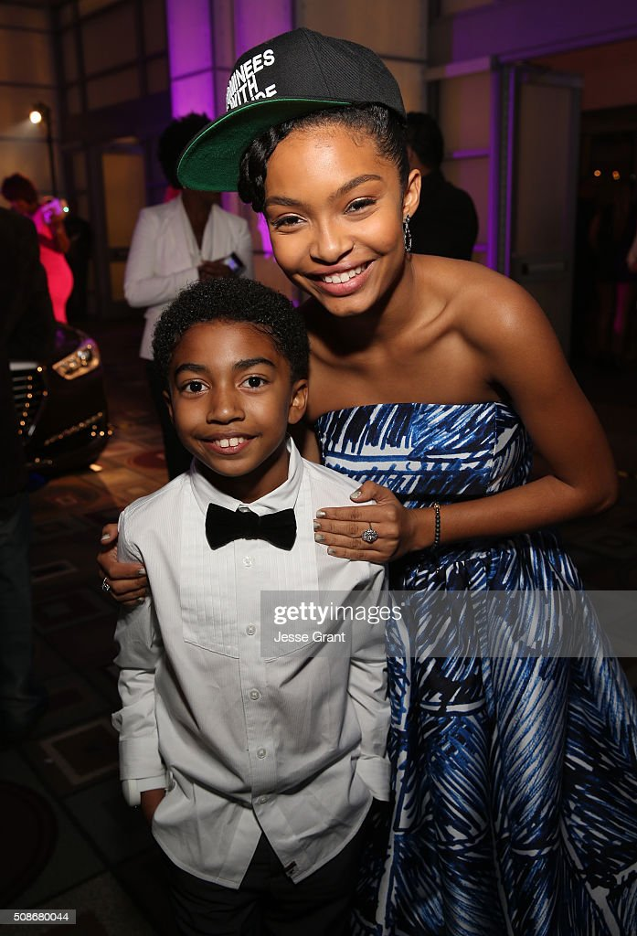 Actors Miles Brown (L) and Yara Shahidi attend the 47th NAACP Image Awards presented by TV One after party at Pasadena Civic Auditorium on February 5, 2016 in Pasadena, California.