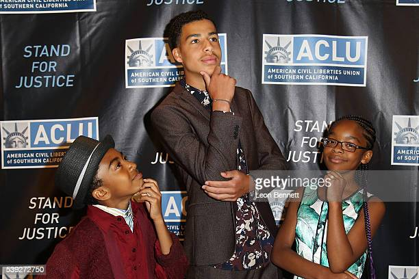 Actors Miles Brown Marcus Scribner and Marsai Martin attends ACLU SoCal's 22nd Annual Luncheon at The LA Hotel on June 10 2016 in Los Angeles...