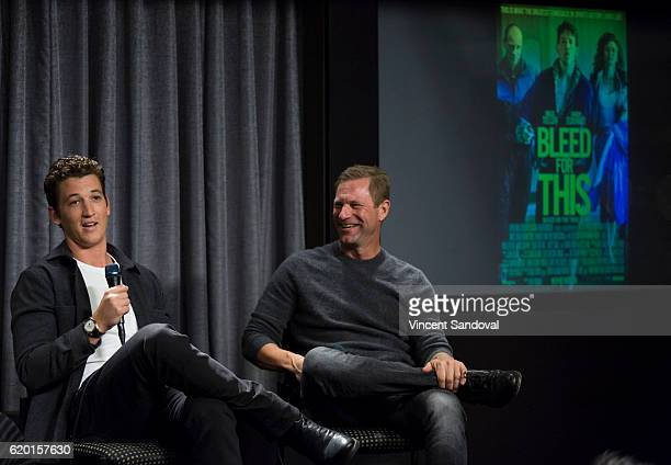 Actors Miles Teller and Aaron Eckhart attend SAGAFTRA Foundation's Conversations with 'Bleed For This' at SAG Foundation Actors Center on November 1...