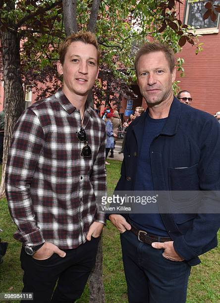 Actors Miles Teller and Aaron Eckhart attend the Telluride Film Festival 2016 on September 3 2016 in Telluride Colorado