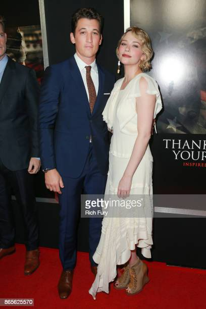 Actors Miles Teller and Haley Bennett attends the premiere of DreamWorks Pictures and Universal Pictures' 'Thank You For Your Service' at Regal LA...