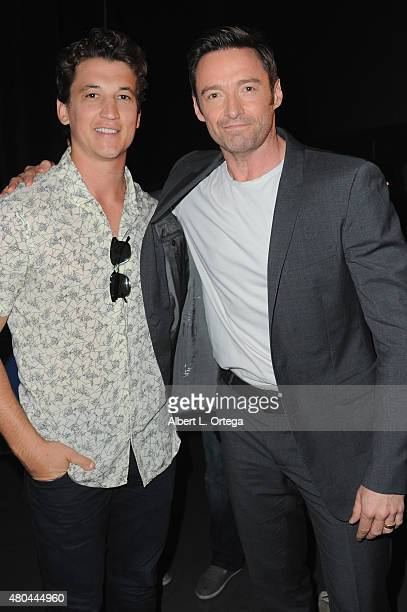 Actors Miles Teller and Hugh Jackman attend the 20th Century FOX panel during ComicCon International 2015 at the San Diego Convention Center on July...