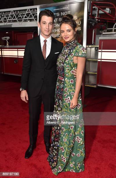 Actors Miles Teller and Keleigh Sperry attend the premiere of Columbia Pictures' Only The Brave at the Regency Village Theatre on October 8 2017 in...
