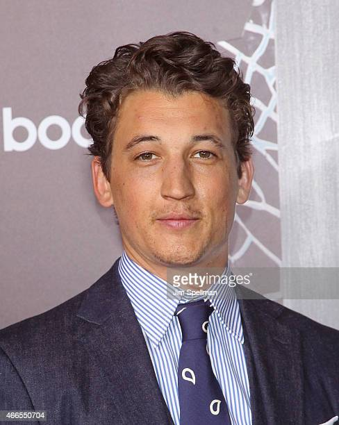 Actors Miles Teller attends the The Divergent Series Insurgent New York premiere at Ziegfeld Theater on March 16 2015 in New York City