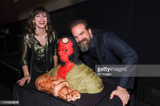 Actors Milla Jovovich and David Harbour attend the Hellboy Canadian Premiere held at Scotiabank Theatre on April 10, 2019 in Toronto, Canada.