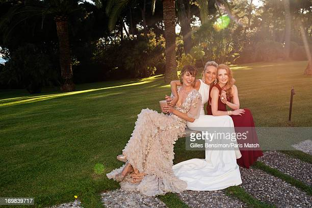 Actors Milla Jovovich Sharon Stone and Jessica Chastain are photographed for Paris Match on May 23 2013 in Cannes France