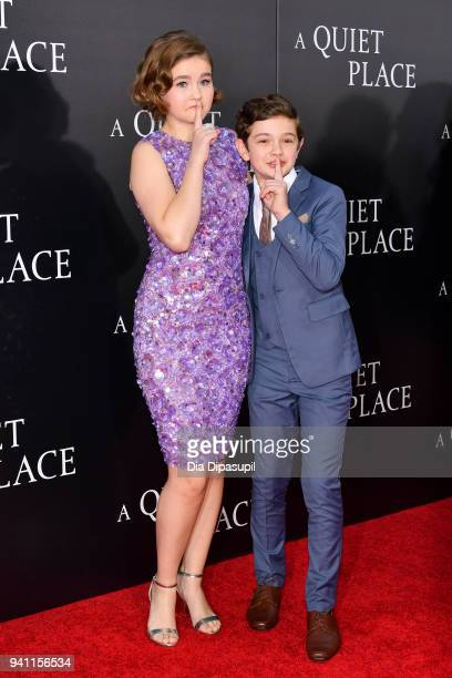 Actors Millicent Simmonds and Noah Jupe attend the A Quiet Place New York Premiere at AMC Lincoln Square Theater on April 2 2018 in New York City