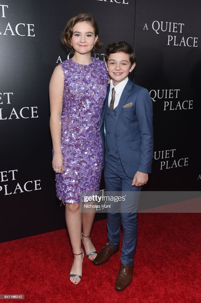Actors Millicent Simmonds (L) and Noah Jupe attend the Paramount Pictures New York Premiere of 'A Quiet Place' at AMC Lincoln Square theater onApril 2, 2018 in New York, New York.