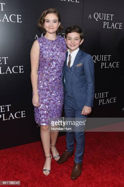 Actors Millicent Simmonds and Noah Jupe attend the Paramount Pictures New York Premiere of A Quiet Place at AMC Lincoln Square theater on April 2...