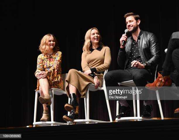 """Actors Millicent Simmonds Emily Blunt and John Kransinski speak onstage during the """"A Quiet Place"""" QA at 21st SCAD Savannah Film Festival on October..."""