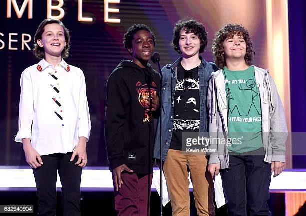 Actors Millie Bobby Brown Caleb McLaughlin Finn Wolfhard and Gaten Matarazzo speak onstage at The 23rd Annual Screen Actors Guild Awards Rehearsals...