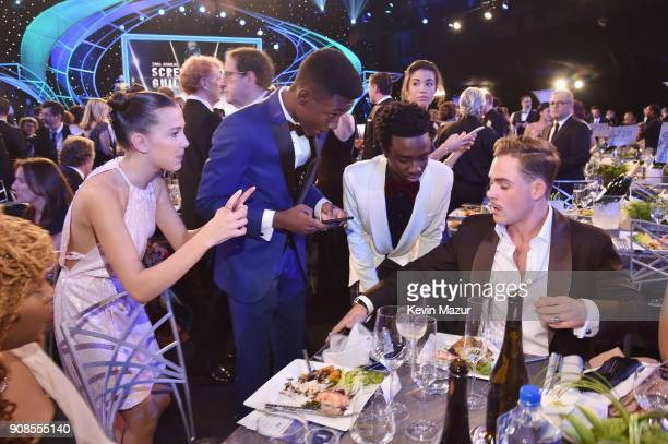 Actors Millie Bobby Brown Niles Fitch Caleb McLaughlin and Dacre Montgomery attend the 24th Annual Screen Actors Guild Awards at The Shrine...