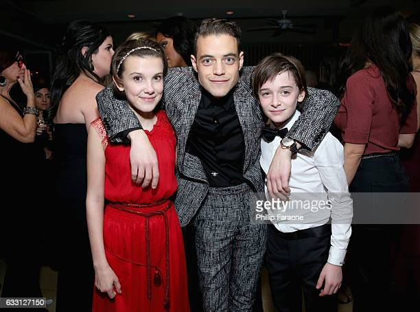 Actors Millie Bobby Brown Rami Malek and Noah Schnapp attend The Weinstein Company Netflix's 2017 SAG After Party in partnership with Absolut Elyx at...