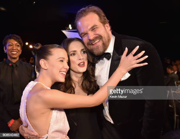 Actors Millie Bobby Brown Winona Ryder and David Harbour pose during the 24th Annual Screen Actors Guild Awards at The Shrine Auditorium on January...