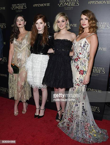 Actors Millie Brady Ellie Bamber Bella Heathcote and Lily James attend the premiere of 'Pride and Prejudice and Zombies' at Harmony Gold Theatre on...