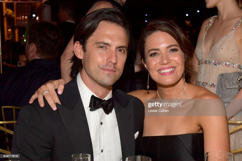 Actors Milo Ventimiglia (L) and Mandy Moore attend the 69th Annual Primetime Emmy Awards Governors Ball on September 17, 2017 in Los Angeles, California.