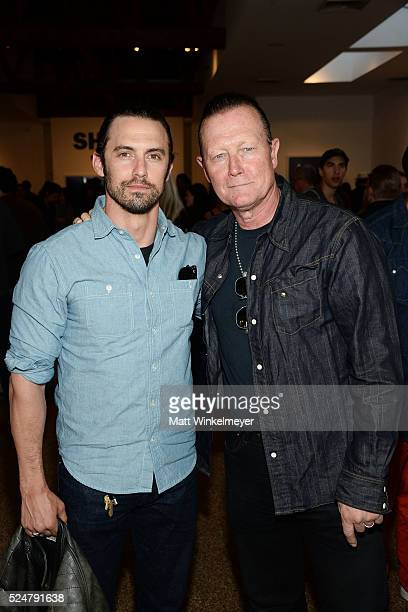 "Actors Milo Ventimiglia and Robert Patrick attend the Opening Reception for Michael Muller's book ""Shark"" hosted by TASCHEN at TASCHEN Gallery on..."