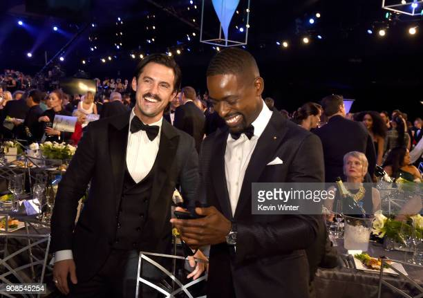 Actors Milo Ventimiglia and Sterling K Brown attend the 24th Annual Screen Actors Guild Awards at The Shrine Auditorium on January 21 2018 in Los...