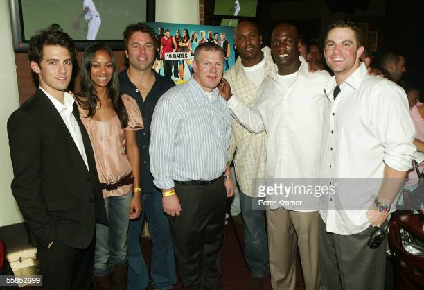 Actors Milo Ventimiglia and Zoe Saldana and baseball players Todd Zeile Lenny Dykstra Cliff Floyd Mike Cameron and David Wright attend the afterparty...