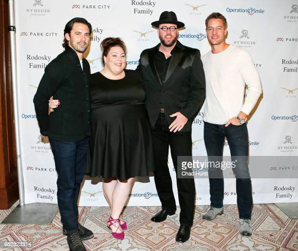 Actors Milo Ventimiglia Chrissy Metz Chris Sullivan and Justin Hartley attend Operation Smile's Celebrity Ski Smile Challenge Presented by the...