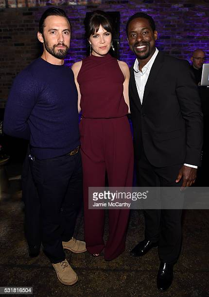 Actors Milo Ventimiglia Mandy Moore and Sterling K Brown attend the Entertainment Weekly People Upfronts party 2016 at Cedar Lake on May 16 2016 in...