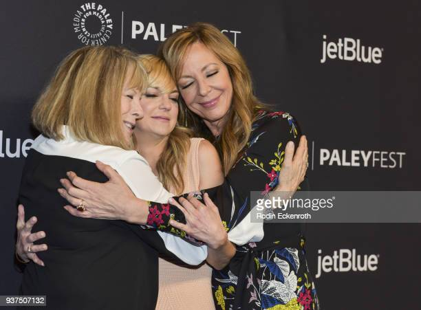 Actors Mimi Kennedy Anna Faris and Allison Janney attend 2018 PaleyFest Los Angeles CBS's 'Mom' at Dolby Theatre on March 24 2018 in Hollywood...