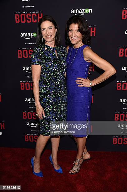 Actors Mimi Rogers and Amy Aquino arrrive at the Premiere Of Amazon's 'Bosch' Season 2 at SilverScreen Theater at the Pacific Design Center on March...